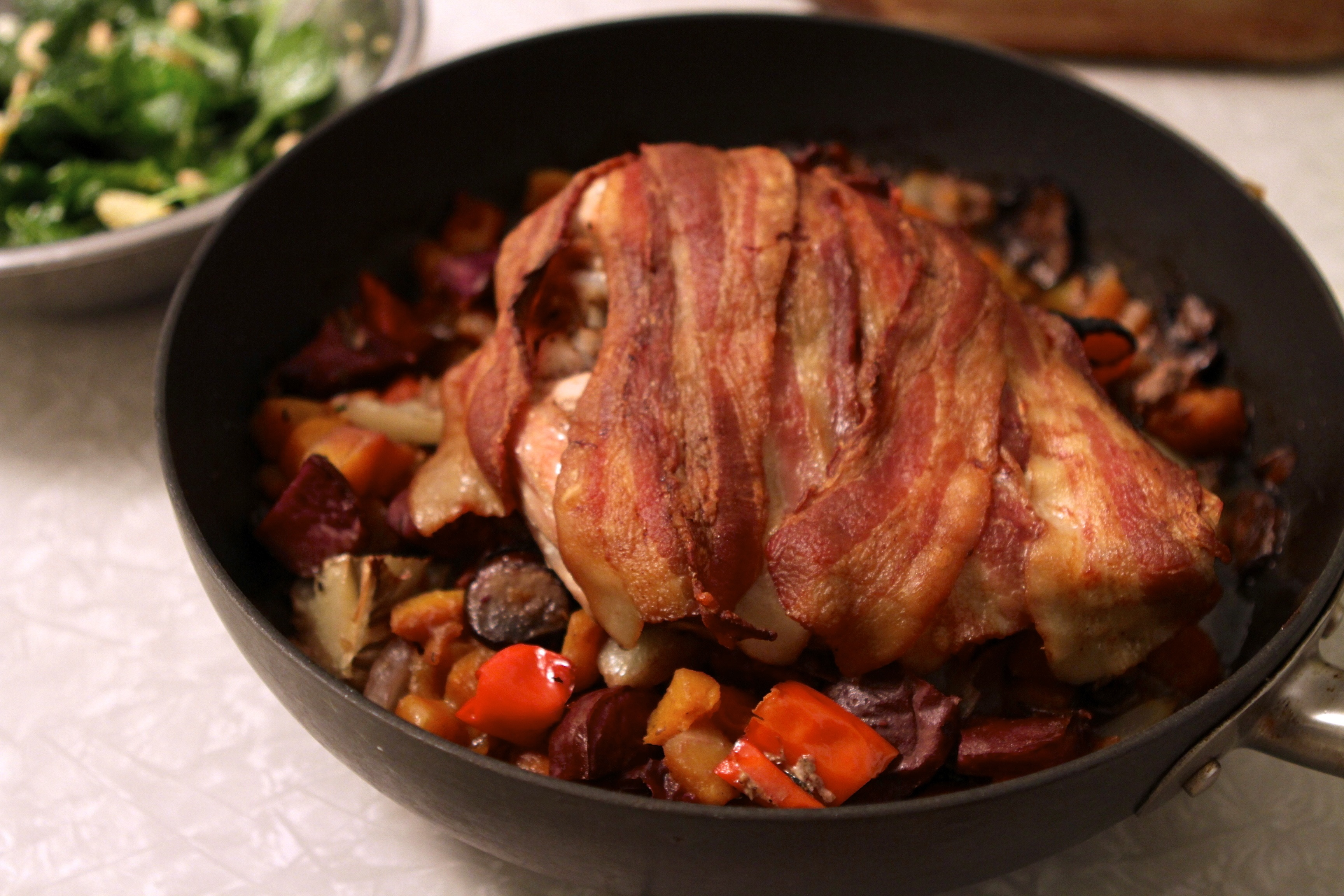 Bacon Wrapped Turkey Breast Roasted with Vegetables: Two Meals in One ...