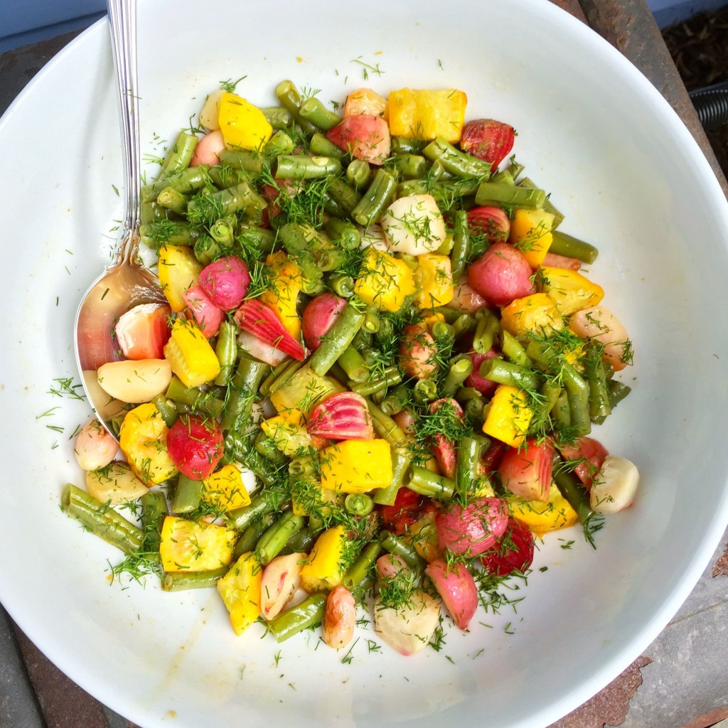 "Roasted beets, radishes, squash and green beans with an orange-dill vinaigrette <div class=""hrecipe jetpack-recipe""><div class=""jetpack-recipe-content""></div></div>"