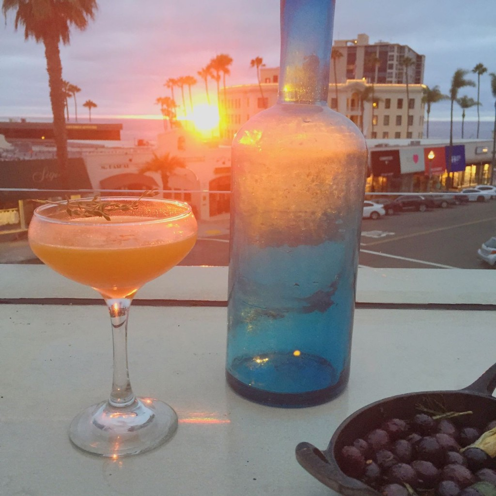 roasted carrot cocktail and sunset at catania in la jolla