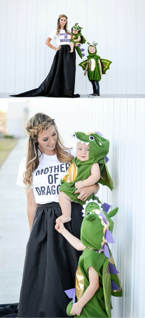 Creative Mom and Kid Halloween Costumes - Mother of Dragons and Baby Dragons